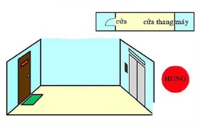 Căn hộ có cửa chính ra vào đối diện cửa thang máy không tốt.