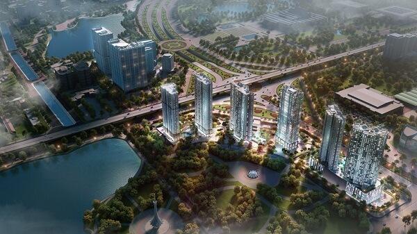 D'.Capitale sở hữu ba mặt tiền hướng ra đường Trần Duy Hưng, Khuất Duy Tiến và Hoàng Minh Giám, liền kề khu công viên hồ điều hòa Trung Hòa – Nhân Chính rộng 13ha