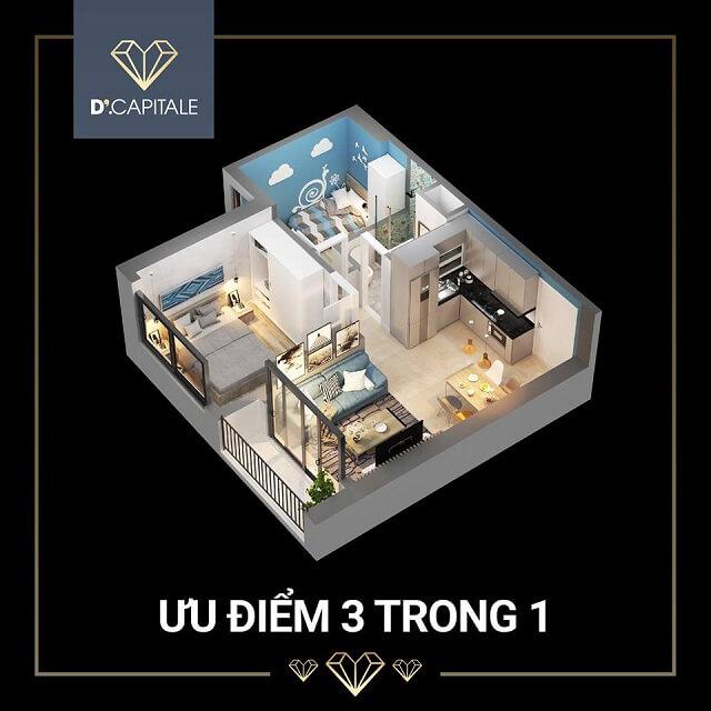 Các căn hộ SOHO ở D'.Capitale có diện tích đa dạng từ 37,54 – 60,74m2 với 3 loại căn hộ 1S, 1,5S và 2S