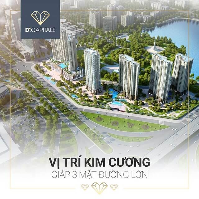 Căn hộ SOHO D'.Capitale nằm ở vị trí đắc địa tại Trung tâm hành chính mới, kết nối với trục kinh tế phía Tây hay trung tâm sôi động của Hà Nội đều rất thuận tiện.