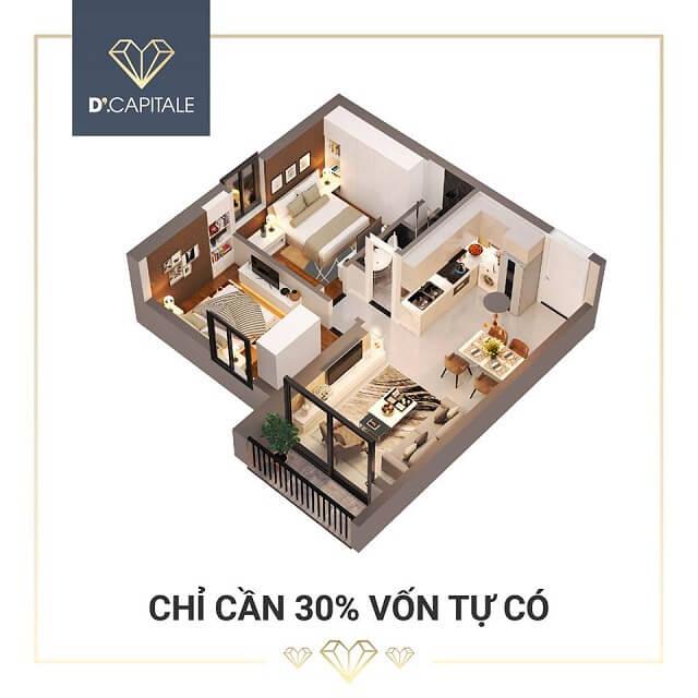 Khi mua căn hộ SOHO khách hàng chỉ cần đóng trước 30% GTCH