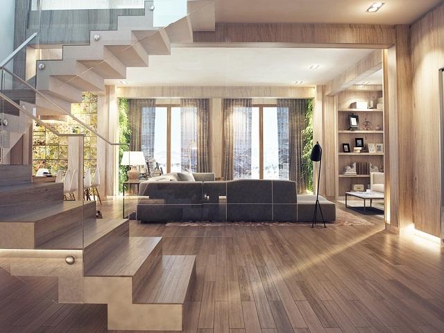 Với những căn phòng có đủ sáng, có thể chọn màu sàn với gam màu trung tính hoặc màu tối. Tuy nhiên, với không gian nhỏ và thiếu sáng, bạn nên chọn sàn màu sáng, màu trung tính có sắc độ nhạt để không gian cảm giác như rộng hơn. Ảnh minh họa