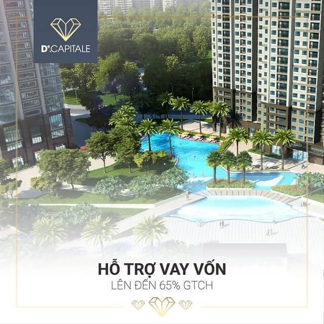 Khách hàng được hỗ trợ vay vốn lên đến 65% GTCH khi mua căn hộ tại dự án D'.Capitale