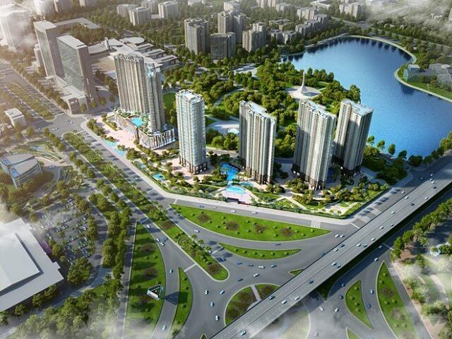 D'.Capitale tiếp giáp 3 mặt tiền đường Trần Duy Hưng, Khuất Duy Tiến, Hoàng Minh Giám và liền kề công viên hồ điều hòa Nhân Chính rộng 13ha