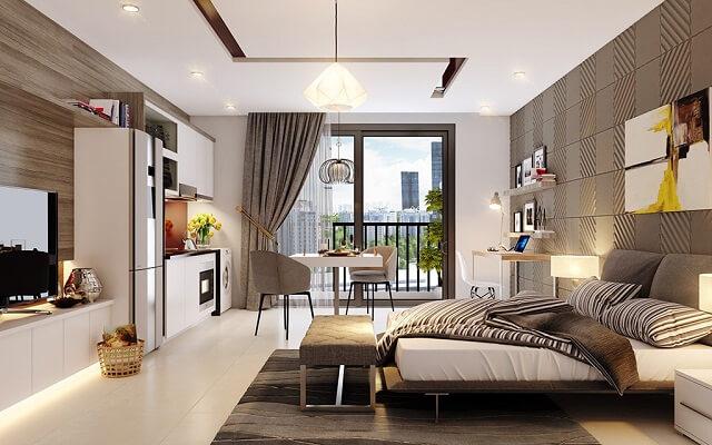 SOHO - D'.Capitale có diện tích từ 38 m2 với thiết kế hiện đại, công năng linh hoạt