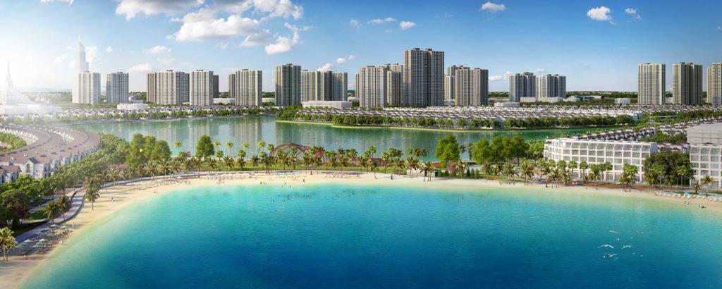 Toàn cảnh đại đô thị VinCity Ocean Park với điểm nhấn là hồ nước mặn rộng 6.1 ha.