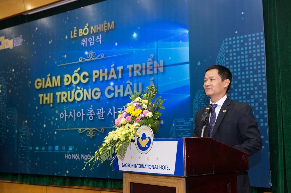 Ông Đỗ Mạnh Trường, Chủ tịch Hộiđồng thành viên côngty Bất động sản KingLand phát biểu tại buổi lễ